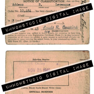 Notice of Classification Card 1945 (Front & Back)-0